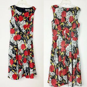 Skulls &  Roses Flared Dress  Small GardenWeb